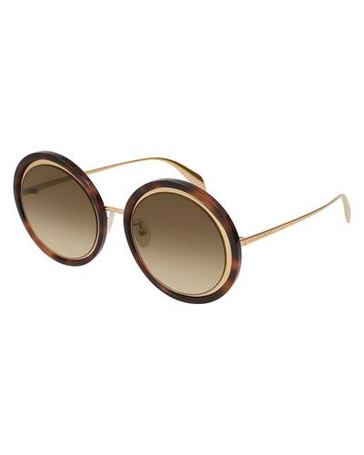 Oversized Round Acetate/Metal Sunglasses