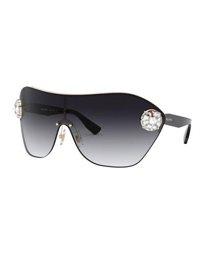 Gradient Shield Sunglasses w/ Crystal Trim