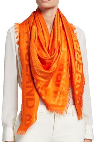 Burberry Monogram Jacquard Silk-Wool Scarf