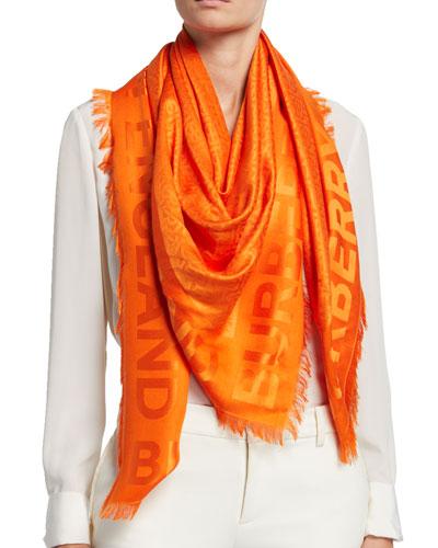 Monogram Jacquard Silk-Wool Scarf