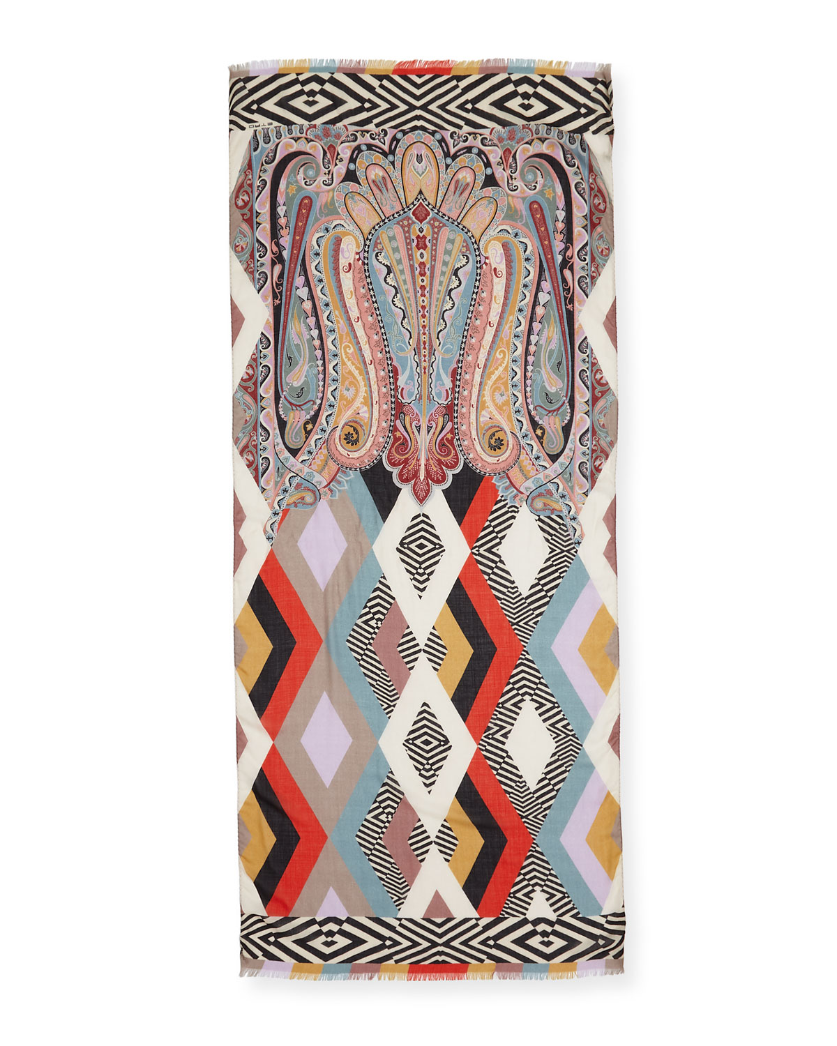 Geometric Paisley Mix Print Scarf by Etro