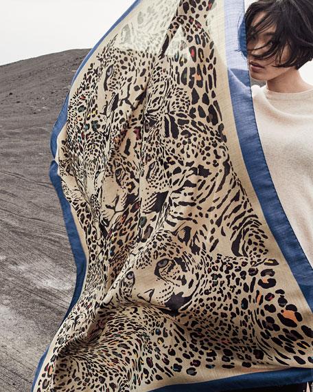 Etro Sciarpa Bombay Leopard-Print Silk/Cashmere Shawl with Border