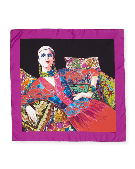 Etro Portrait of a Lady-Print Silk Scarf