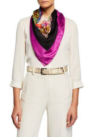 Etro Portrait of a Lady-Print Silk Scarf