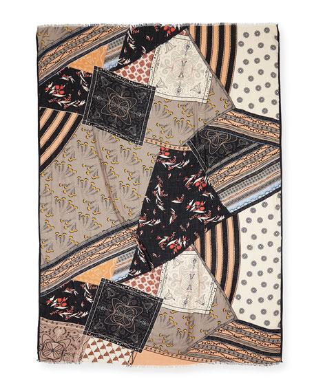 Etro Patchwork-Print Cashmere Scarf