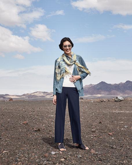 Eileen Fisher Silk Shibori Tassel Trim Scarf
