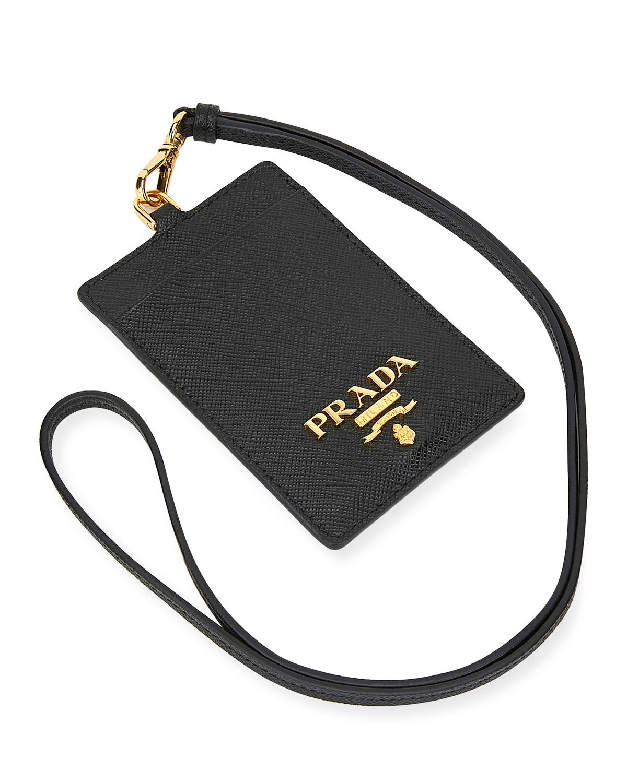 f270e1e1792c06 Prada Saffiano Lanyard Card Case | Neiman Marcus
