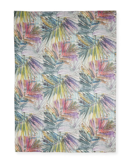 Eskandar Watercolor Leaf Silk Scarf