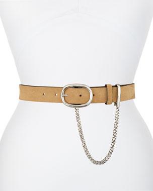 870a41900906a Rag   Bone Wingman Suede Belt with Chain