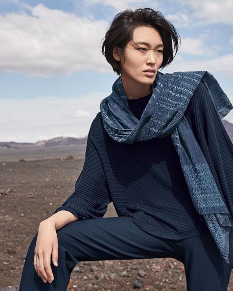 Eileen Fisher Handloomed Shibori Organic Cotton/Silk Scarf