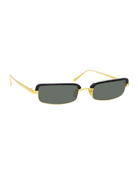 Linda Farrow Slim Rectangular Sunglasses