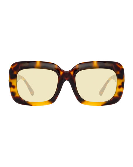 Linda Farrow Chunky Rectangular Acetate Sunglasses