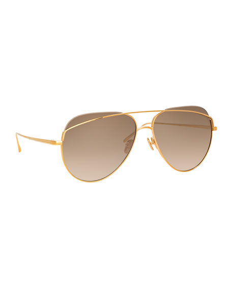 Linda Farrow Titanium Aviator Sunglasses