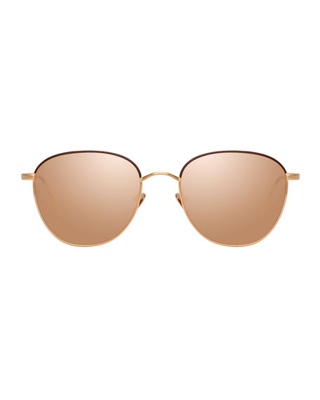 Linda Farrow Titanium Mirrored Square Sunglasses