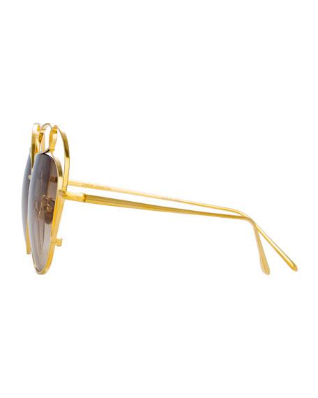 Linda Farrow Cutout Aviator Sunglasses