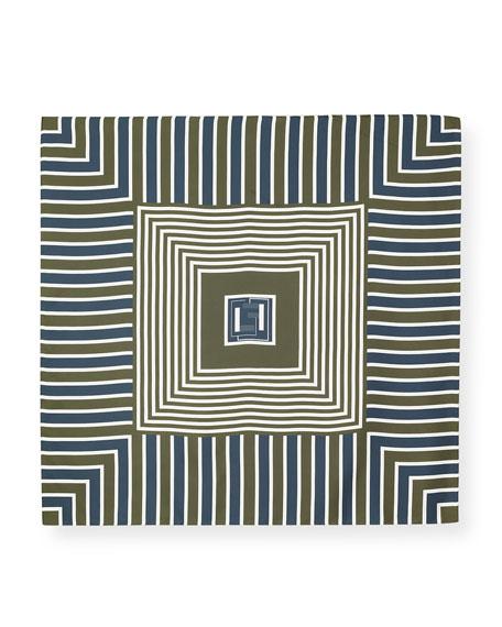 Lafayette 148 New York Bicolor Geometric Silk Scarf