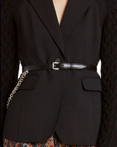 Altuzarra Leather-Skinny Golden Chain Belt