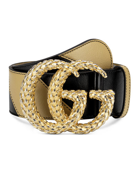 Gucci Two-Tone Diagonal Quilted Leather Belt w/ Textured Double G Buckle