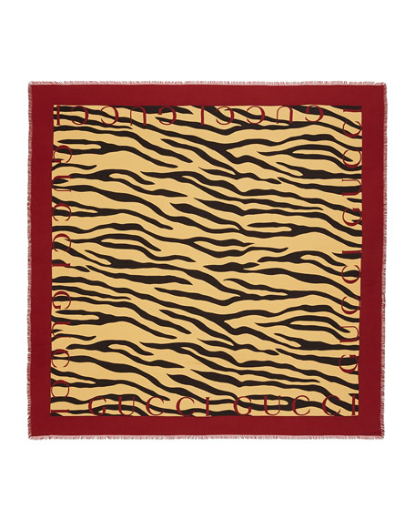 Gucci Tiger Stripes Print Silk Shawl