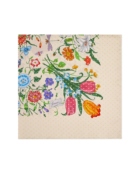 Gucci Flora Stars Print Silk Twill Scarf