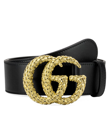 Gucci Leather Belt w/ Textured Double G Buckle