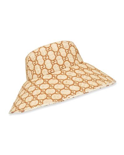 Raffia Interlocking G Embroidered Bucket Hat w/ Snakeskin Trim