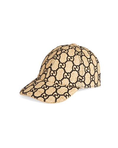 Raffia Interlocking G Embroidered Baseball Hat