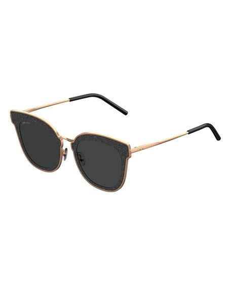Jimmy Choo Niles Glittered Cat-Eye Sunglasses