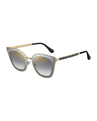 Lorys Cat-Eye Mirrored Sunglasses w/ Glittered Arms