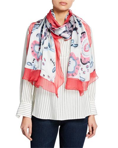 Multi Floral Silk Scarf