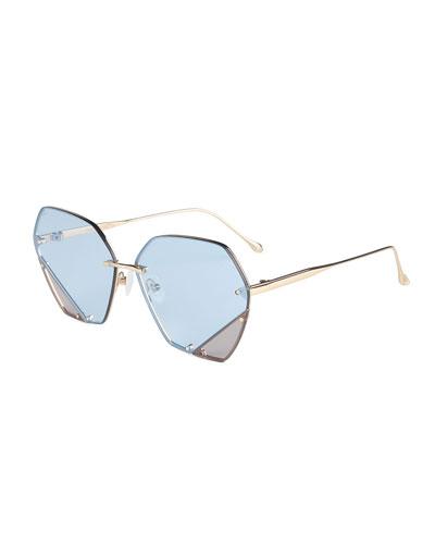 Rimless Two-Tone Square Sunglasses
