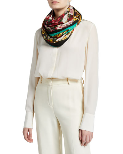 Floral Print Modal-Cashmere Scarf