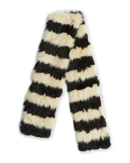 Saint Laurent Renard Two-Tone Fox Fur Scarf