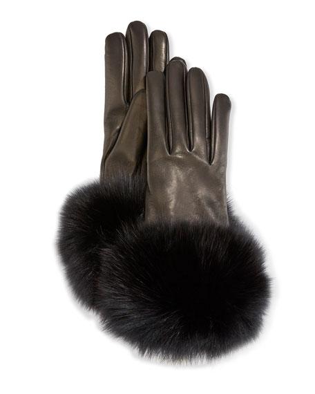Mario Portolano Cashmere-Lined Leather Gloves w/ Fox Fur Cuffs