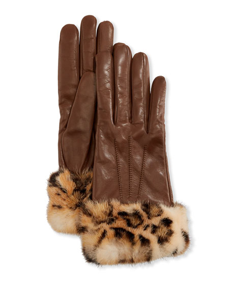 Mario Portolano Cashmere-Lined Leather Gloves w/ Mink Fur Cuffs