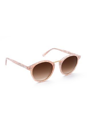 KREWE Taylor Marbleized Acetate Round Sunglasses
