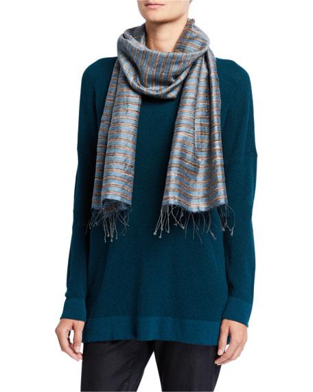 Eileen Fisher Striped Handloom Silk Slub Wool Scarf