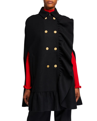 Wool/Cashmere Double-Breasted Ruffle-Trim Cape