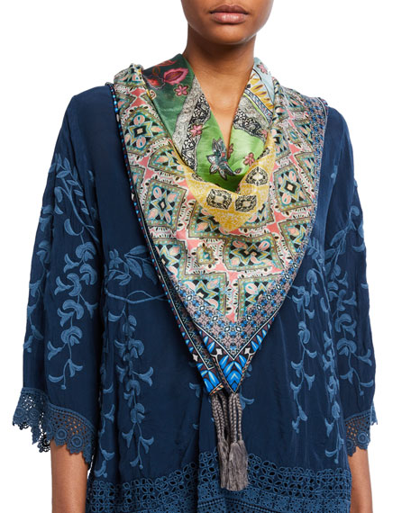 Johnny Was Roni Silk Square Scarf with Tassels