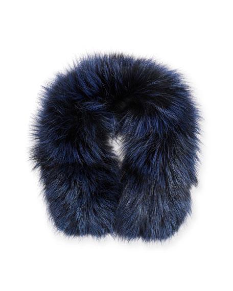 49 Winters Fox Fur-Trim Collar, Navy