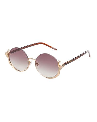 Semi-Rimless Round Mermaid Sunglasses