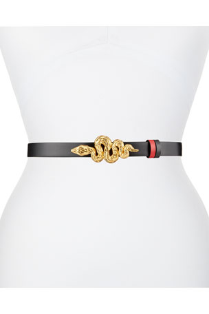 Valentino Reversible Leather Belt w/ Snake Buckle