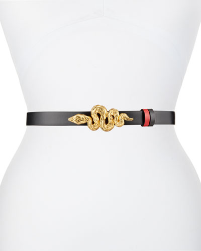 Reversible Leather Belt w/ Snake Buckle