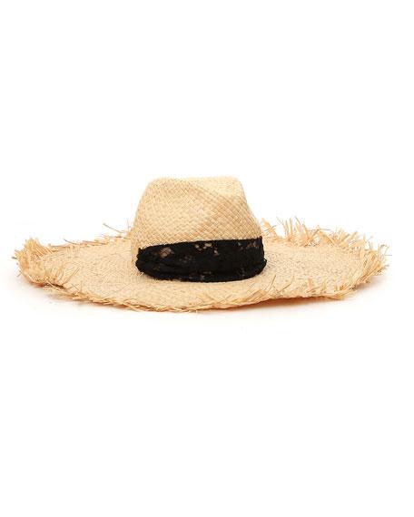 Valentino Raffia Frayed Large Brim Hat w/ Lace Trim