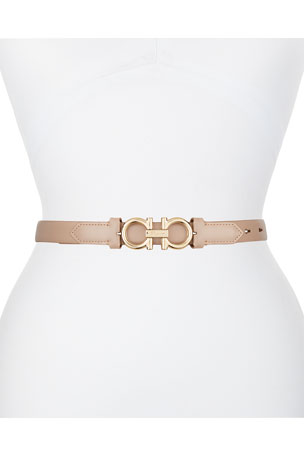 Salvatore Ferragamo Gancini-Buckle Leather Rolo Belt