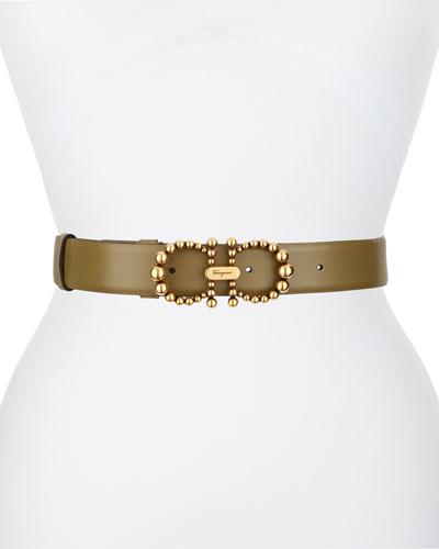 New Bead Gancini Leather Belt