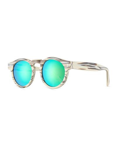 Leonard Mirrored Iridescent Round Sunglasses  White Horn