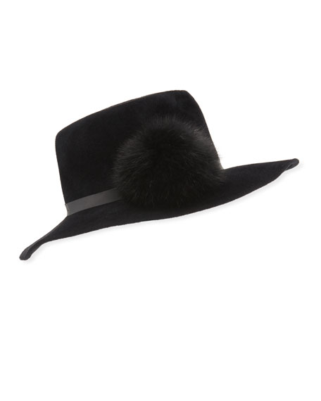 Frasconi Rabbit Felt Fedora Hat w/ Fur Pompom
