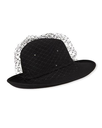 Rabbit Felt Fedora Hat w/ Veiling
