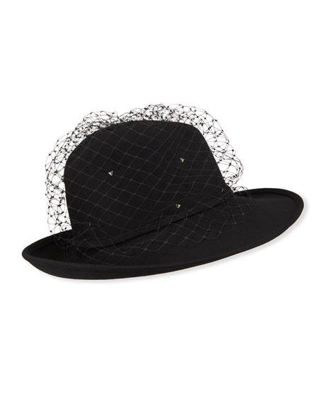 Marzi Rabbit Felt Fedora Hat w/ Veiling